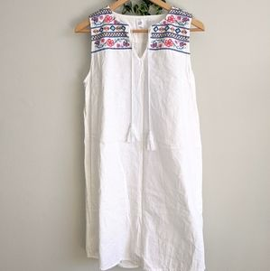 GAP White Linen Dress Embroidered Size M
